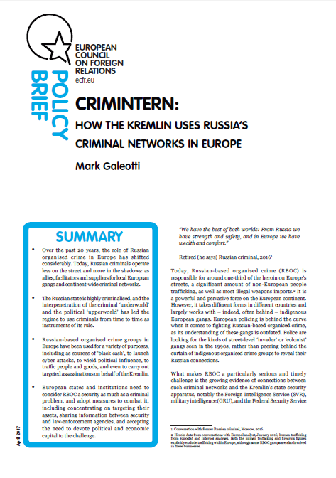 Cover: Crimintern: How the Kremlin uses Russia's criminal networks in Europe