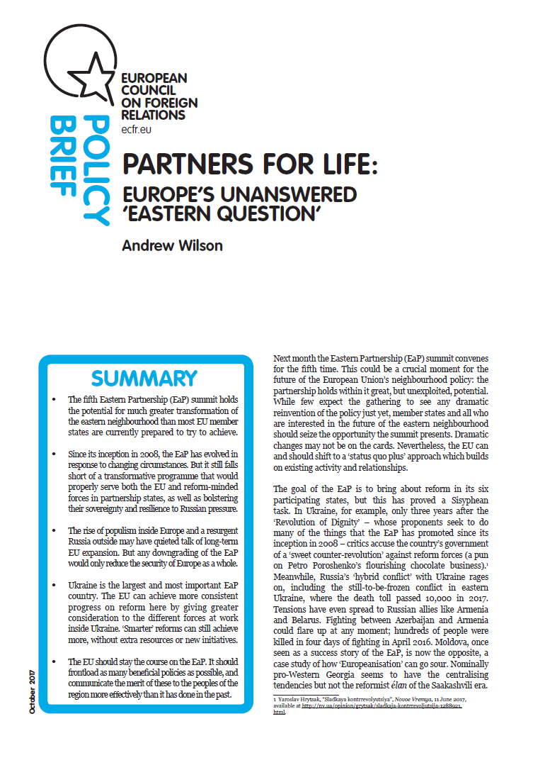 Cover: Partners for Life: Europe's Unanswered 'Eastern Question'