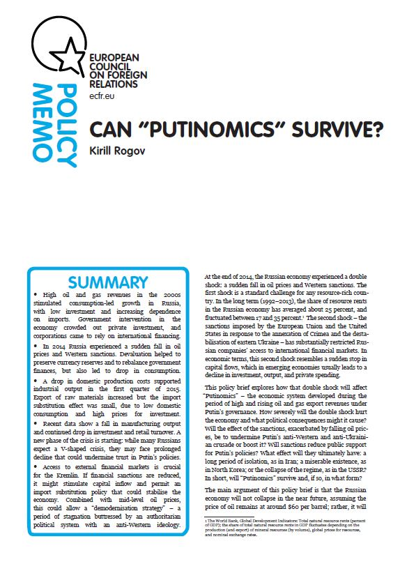 "Cover: Can ""Putinomics"" survive?"