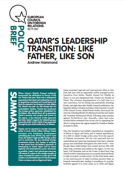 Cover: Qatar's leadership transition: like father, like son