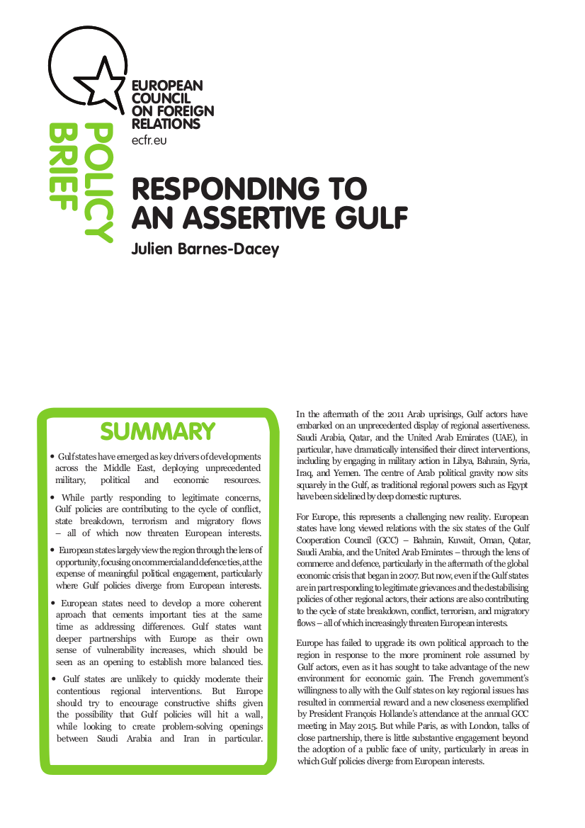 Cover: Responding to an assertive Gulf