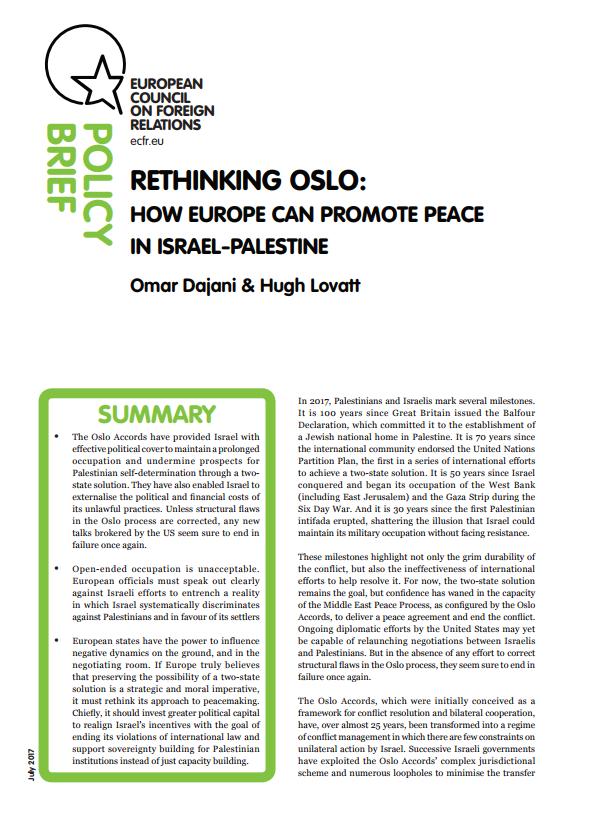 Cover: Repensando los acuerdos de Oslo: cómo Europa puede promover la paz entre Israel y Palestina