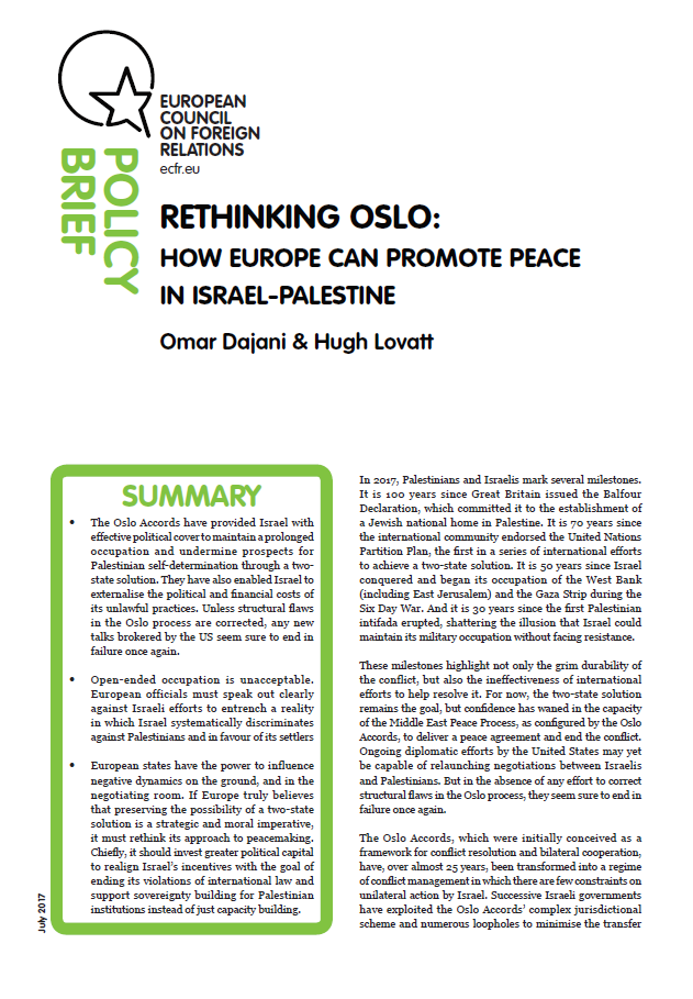 Cover: Rethinking Oslo: How Europe can promote peace in Israel-Palestine
