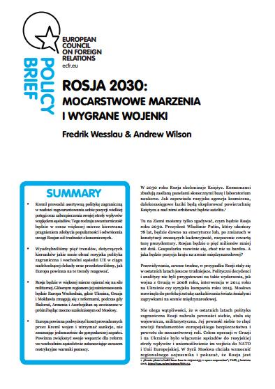 Cover: Rosja 2030: mocarstwowe marzenia i wygrane wojenki