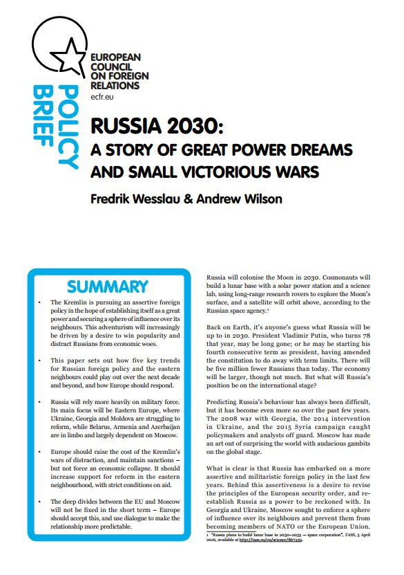 Cover: Russia 2030: A story of great power dreams and small victorious wars