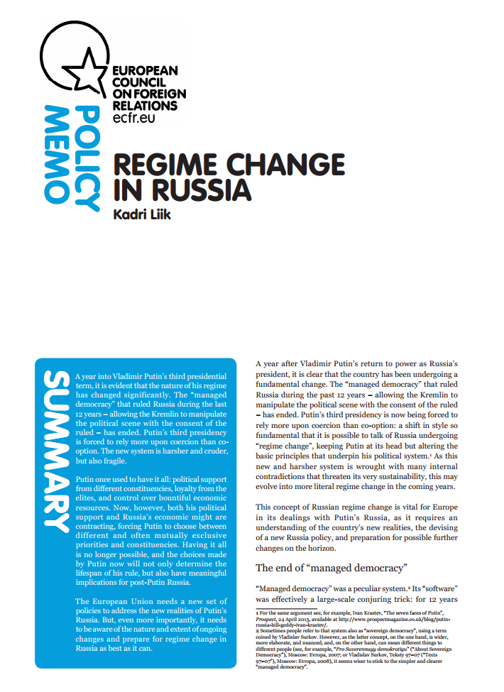 Cover: Regime change in Russia