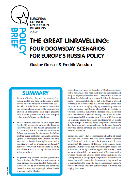 Cover: The great unravelling: four doomsday scenarios for Europe's Russia policy