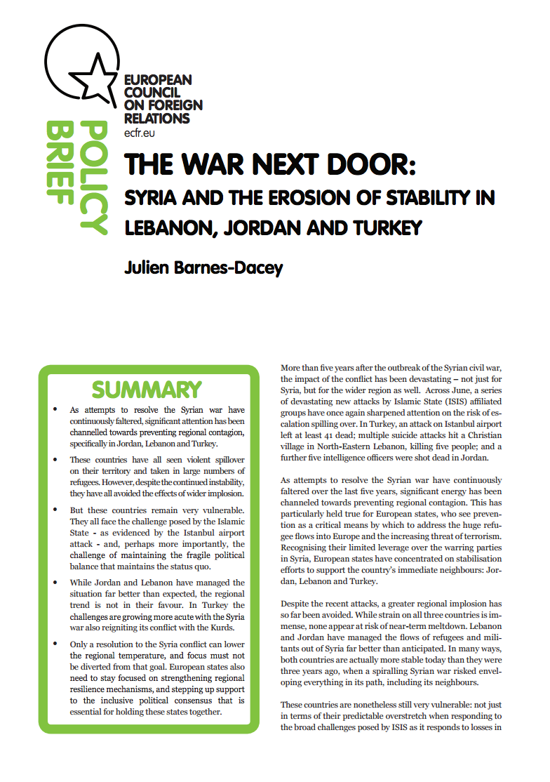 Cover: The war next door: Syria and the erosion of stability in Jordan, Lebanon, and Turkey