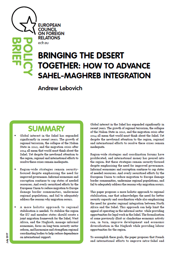 Cover: Bringing the desert together: How to advance Sahel-Maghreb integration