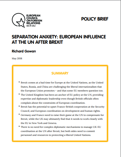 Cover: Niepokój przed rozwodem: wpływ Europy na ONZ po Brexicie