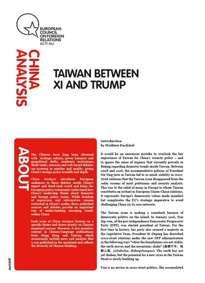 Cover: Taiwan between Xi and Trump