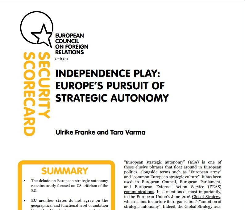 Cover: A la recherche de l'autonomie stratégique européenne