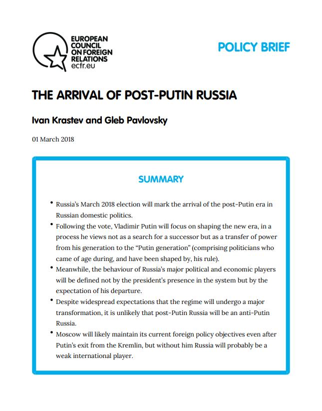 Cover: La era post-Putin comienza en marzo de 2018