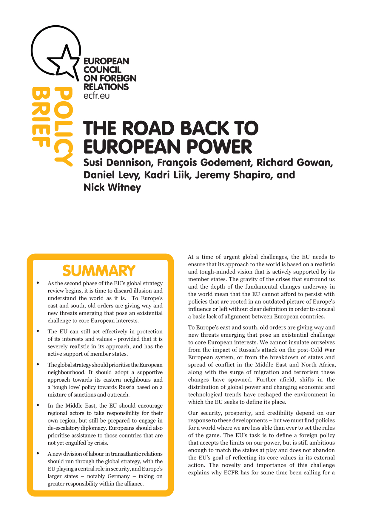 Cover: The road back to European power