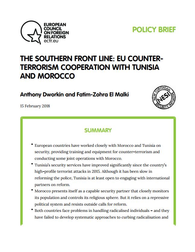 Cover: La ligne de front du Sud : la coopération de l'UE contre le terrorisme avec la Tunisie et