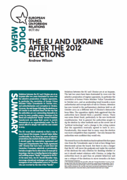 Cover: The EU and Ukraine after the 2012 elections