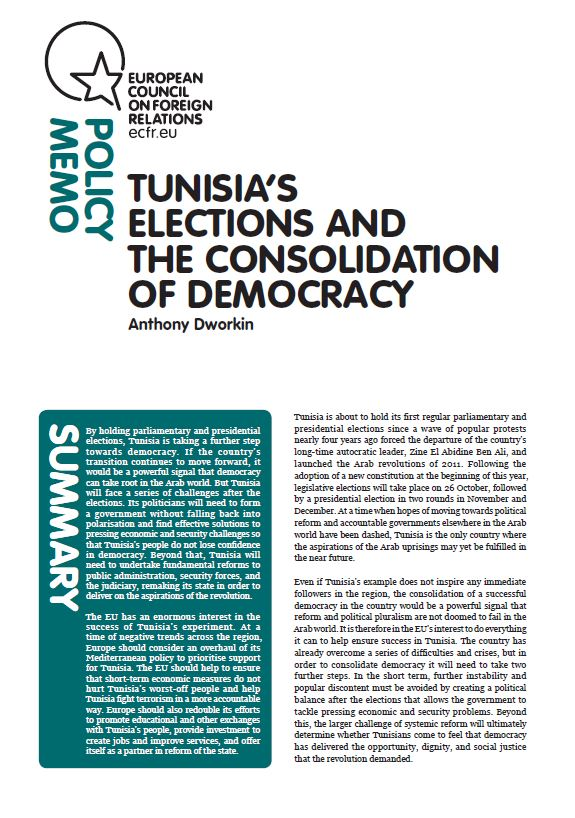 Cover: Tunisia's elections and the consolidation of democracy