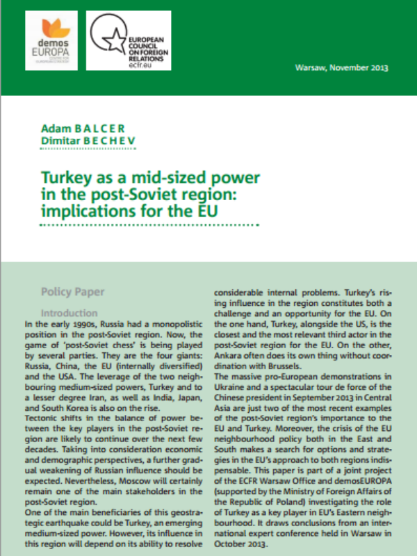 Cover: Turkey as a mid-sized power in the post-Soviet region: implications for the EU