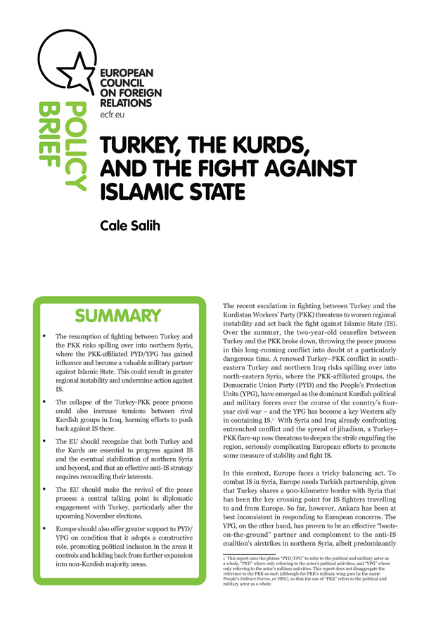 Cover: Turkey, the Kurds and the fight against Islamic State