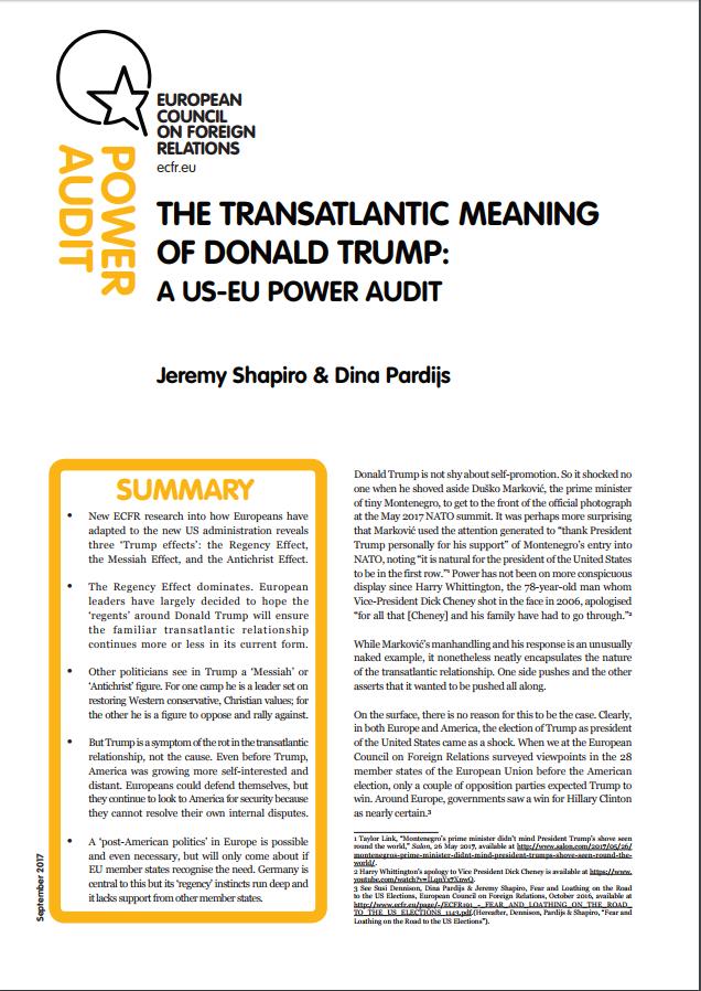 """Cover: Ce que signifie Donald Trump pour l'Europe : un """"Power Audit"""" UE-US"""