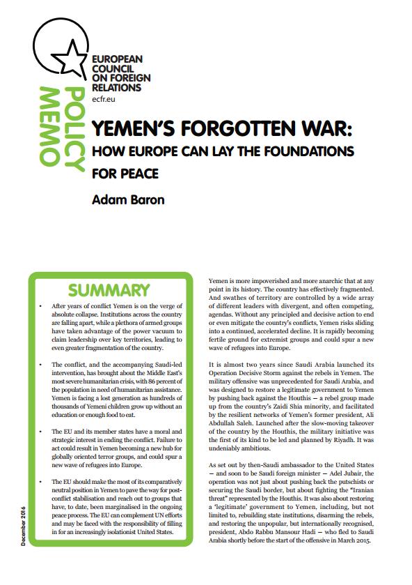 Cover: La guerra olvidada de Yemen: cómo Europa puede colocar los cimientos para la paz