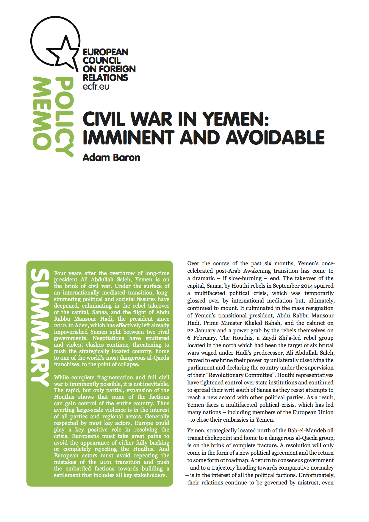 Cover: Civil war in Yemen: imminent and avoidable