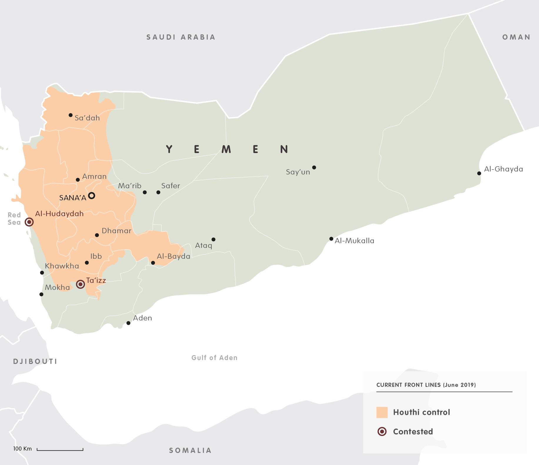Yemen frontolines 2019
