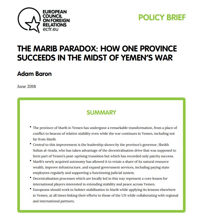 Cover: Le paradoxe de Marib : comment une province réussit au milieu de la guerre au Yémen