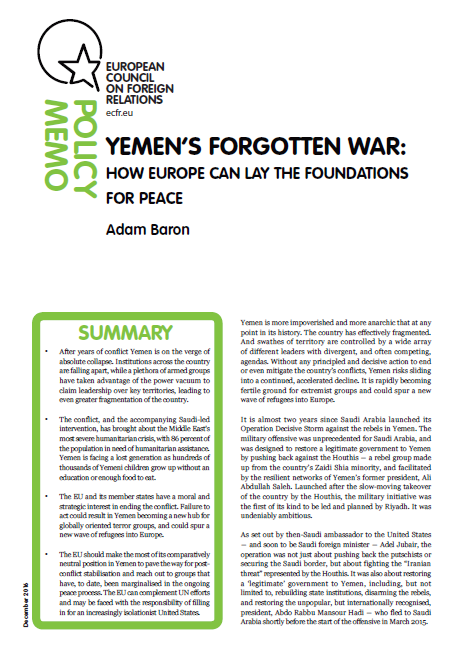Cover: Yemen's Forgotten War: How Europe Can Lay the Foundations for Peace