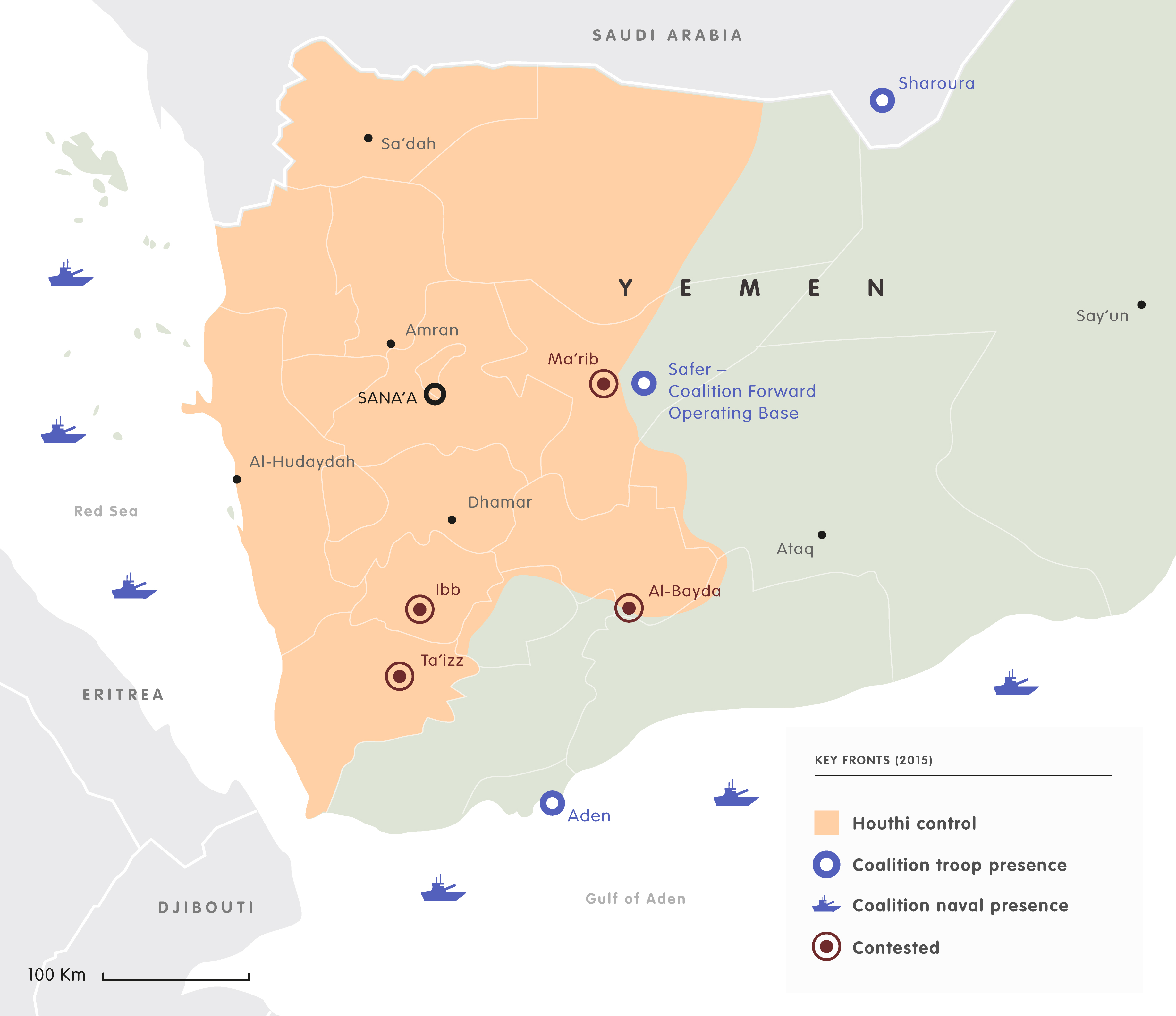 Mapping the yemen conflict european council on foreign relations yemen keyfronts 2017 yemen keyfronts 2015 gumiabroncs Images