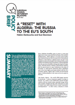 Cover: A 'reset' with Algeria: the Russia to the EU's south