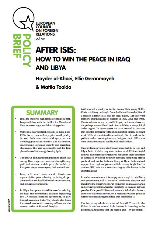 Cover: Después de ISIS: Cómo ganar la paz en Irak y en Libia
