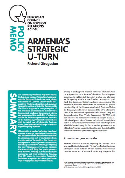 Cover: Armenia's strategic U-turn