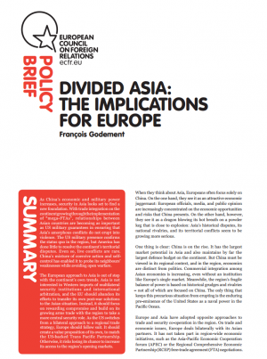 Cover: China Analysis: l'Asie divisée, quelles implications pour l'Europe?
