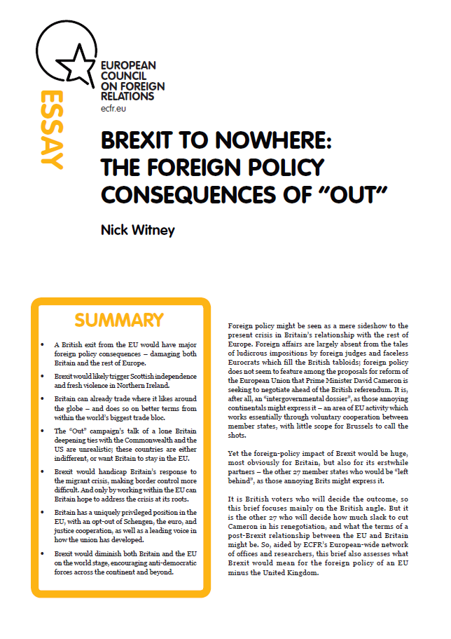 "Cover: Brexit to nowhere: The foreign policy consequences of ""Out"""