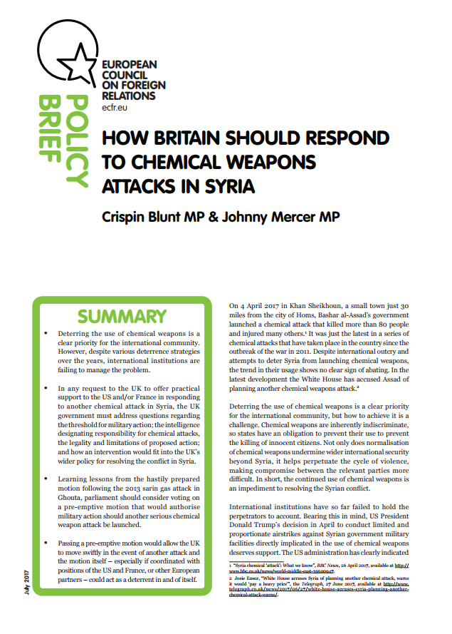 Cover: Comment le Royaume-Uni devrait répondre aux attaques chimiques en Syrie