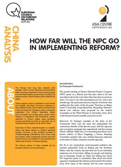 Cover: China Analysis: Jak daleko posunie się chiński parlament w reformach?