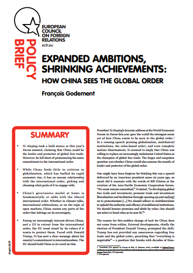 Cover: Expanded ambitions, shrinking achievements: How China sees the global order