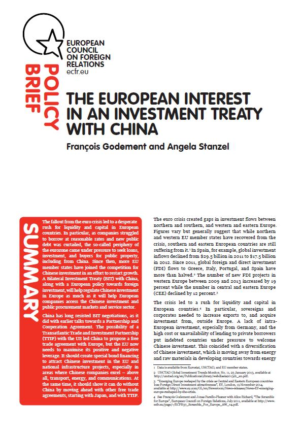 Cover: The European interest in an investment treaty with China
