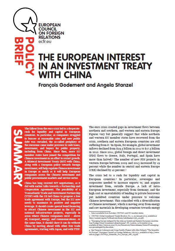 Cover: L'Europe a besoin d'un traité d'investissement avec la Chine