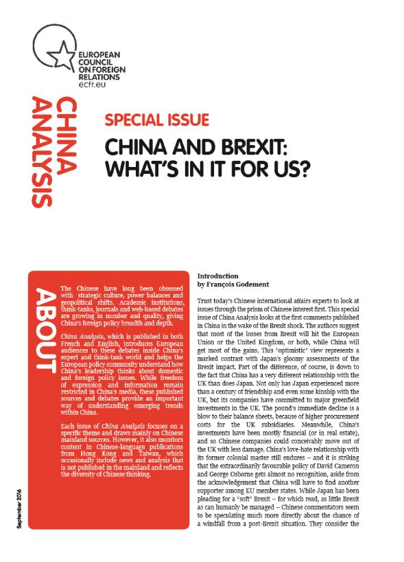Cover: China and Brexit: what's in it for us?