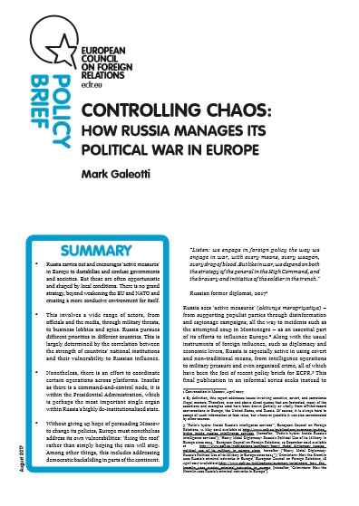Cover: Controlling Chaos: How Russia manages its political war in Europe