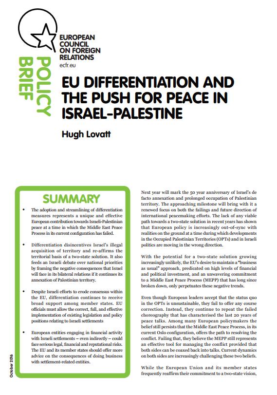 Cover: La política de diferenciación y el impulso del proceso de paz entre Israel y Palestina