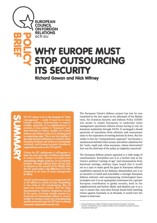 Cover: Why Europe must stop outsourcing its security