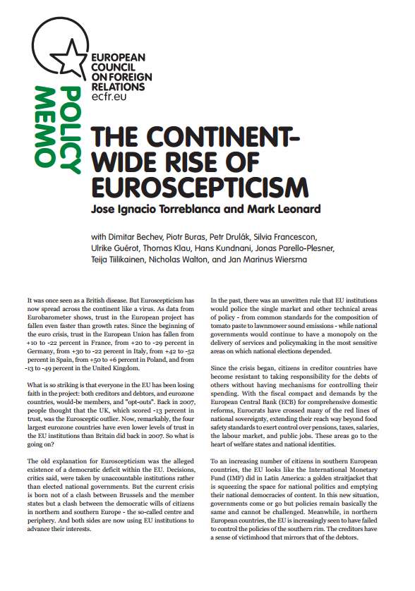 Cover: The continent-wide rise of Euroscepticism