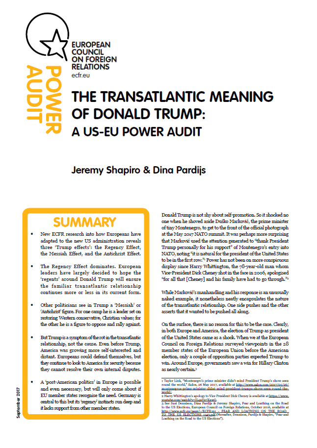 Cover: The transatlantic meaning of Donald Trump: a US-EU Power Audit