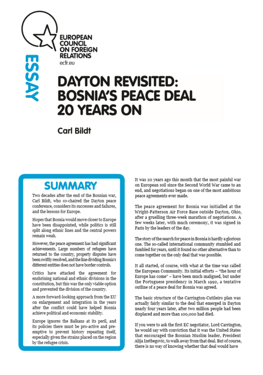 Cover: Dayton revisited: Bosnia's peace deal 20 years on