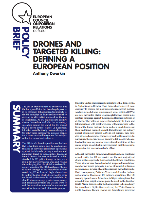 Cover: Drones and targeted killing: defining a European position