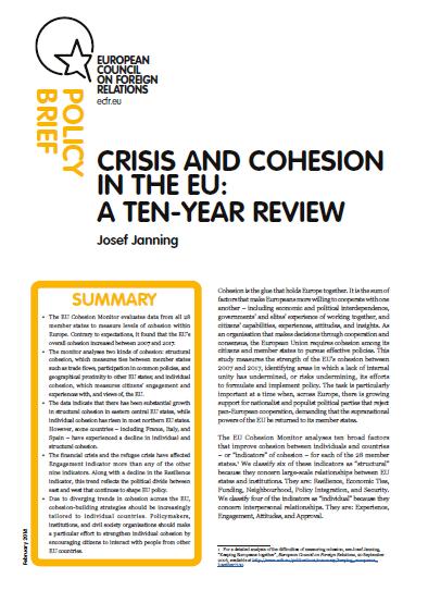 Cover: Crisis y cohesión en la Unión Europea: una revisión diez años después