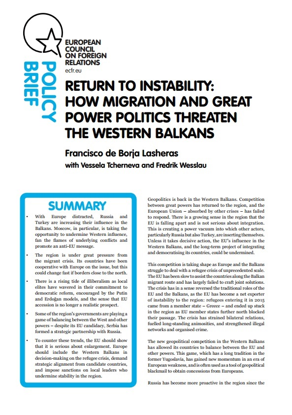 Cover: Return to instability: How migration and great power politics threaten the Western Balkans